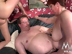 Lucky bastards gets a threesome with his wife and with the very busty Melanie