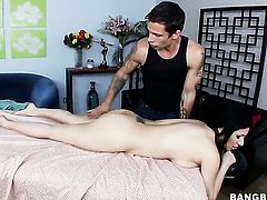 Sativa Rose with juicy ass lets guy stick his meaty sausage in her mouth