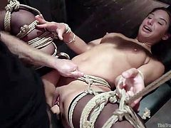 Abella Danger loves some domination. A little pain only adds to her pleasure. Her executor uses a toy on her tight, hairless pussy and then, he rams his hard cock inside her. The tiny-breasted young slut smiles and screams, as she's fucked hard with ropes still around her legs, holding them in the air.