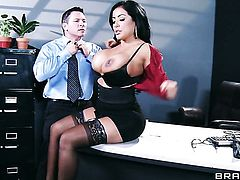 Kiara Mia keeps her legs apart to be dicked over and over again by John Strong