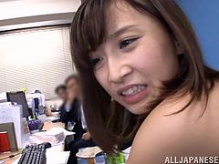 The short-haired Japanese babe in the video has no shame to show her nudity in front of the many guys, that gathered in a pubic office to watch the kinky scenes. She seems very flexible, as she stretches her legs, to reveal her naughty cunt and get fingered deeply. Click to see Ayumi sucking dick with frenzy!
