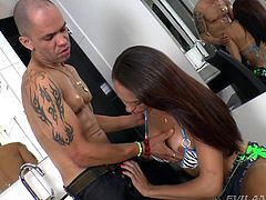 Tony Lee has a hard big dick and he gets it sucked by a pro tranny, who is really expert in giving a blowjob with perfect deep-throating. After the shemale Giselly gives him a good sucking, he grabs on her cock and starts playing with it as well, as giving it good handwork, like he gave to her ice tranny tits.
