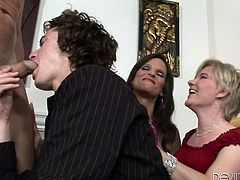 Two naughty versed ladies and two horny guys, met to spend the evening together. But it's not that champagne they are about to savor, but also enjoy the taste of skin and cum. Click to see the inciting blowjob scene, where the lusty blonde and her friend encourage the men to let loose.