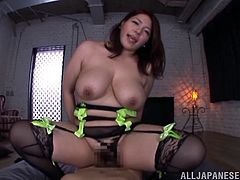 Asian brunette MILF has bewildering pair of big natural boobs as well, as a nice wet pussy. Mizuki is riding the POV guy's cock and getting fucked with tits bounced happily. She spread her legs properly, to get banged deeper and harder!