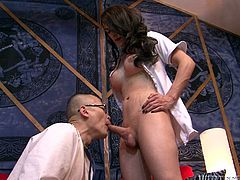 The Asian doctor checks out sexy tranny nurse Nina's hard cock. They rub their shafts together in the hospital and they love it. He check her cock with the stethoscope, to make sure everything is in order. The doctor sucks on the shemale's cock. Will he let her shoot sperm into his mouth. He needs the protein.