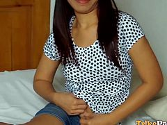 The sexy Filipina bitch met in the street, is willing to follow a random guy in his bedroom. Click to watch the slim brunette undressing and showing off her lusty cunt and lovely small tits. She seems very excited and aroused, especially when she gets to taste the man's dick and balls...
