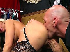 Alena Croft is the blonde cunt Johnny Sins is going to be pounding today real hard, just like a true bitch with big tits wearing lingerie deserves to get pounded.