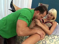Lingerie clad blonde deepthroating a schlong before getting hammered