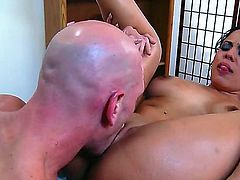 Johnny Sins knows what time it is when a Latina with super hot legs is standing in front of him. He whips out his shit and starts banging her hard.