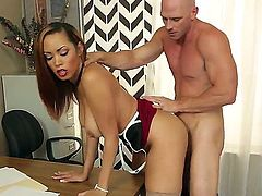 Serena is a sexy secretary in stockings and high heels. In order to get a raise she needs to fuck with her boss Johnny Sins, who is happy to fill her up with cum