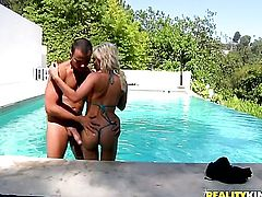 Voodoo pulls out his pole to fuck horny as hell Diamond Foxxs mouth before she gets assfucked