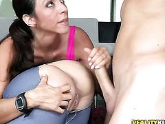 Ariella Ferrera finds it exciting to be mouth fucked by Michael Vegas in front of the camera
