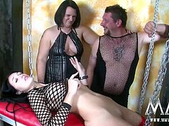 Meli shows of her new sex swing to her kinky friends who are turned on hard by it. They start fingering each other and it all leads to to a hot threesome fuck fest.