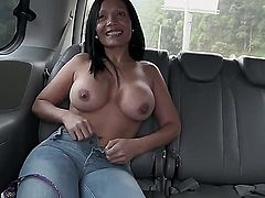 Busty Latina milf picked up in a bang bus. She gets talked into taking off her clothes and sucking off this guy with a monster cock