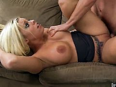 Britney Amber warms Dane Cross up before cock sucking
