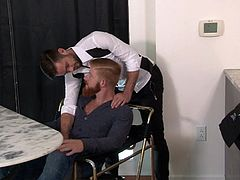 Anthony finds sexy Mike in the kitchen. The horny tattooed man removes his shirt and also unzips his pants, remaining naked. That passionate kiss and Mike's tongue licking his cock, have already made his dick really hard. Click to watch the rest of the exciting details.