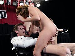 With gigantic knockers asks Danny D to insert his meat pole in her mouth