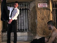 If your hardcore dreams are tormented by a nasty fucker with a British exquisite accent, click to watch a horny lad, getting what he deserves! Paddy gets rid of his elegant costume, once he arrives at the destination... See him persuading a naked muscled gay guy to suck his appetizing cock.