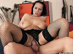 Laura Lion with juicy boobs gets a pussy stuffing in hardcore action with hot dude