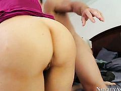 With juicy hooters and hairless muff gets fucked by Johnny Castle the way she loves it