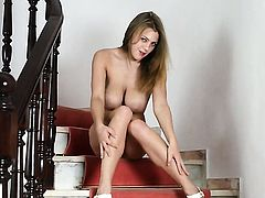 With huge melons and clean beaver shows every inch of her body before her masturbates on cam