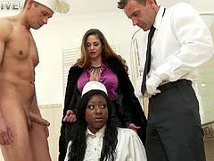 Uniform-clad porn star with big boobs enjoying an interracial gangbang