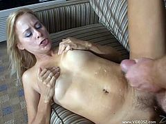 Lewd blonde Payton Leigh rides a cock after sucking it ardently