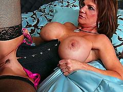 Deauxma is a slutty housewife in sexy black stockings. She has trouble with getting the tv to work, so she calls this repair company. They send a young stud over who fucks her hungry pussy in the bedroom.