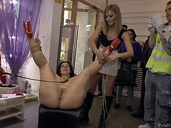 Sexy Montse is so horny, she would accept anything, including being fucked and disgraced in public. Watch her spreading legs widely, as her legs and hands have been bonded with rope. A blonde slut keeps fingering her naughty cunt, until she's ready to be pounded badly by a lusty guy. See the hardcore details!
