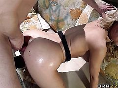 Mark Ashley uses his thick worm to bring blowjob addict to the edge of nirvana after backdoor sex