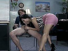 Asa Akira is an Oriental milf, eager to get banged in her own office hardcore. Shes so horny that her victim is going to have to be her new male assistant.