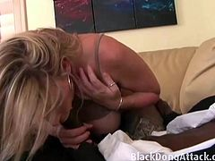 Slutty milf Sara Jay erotically sucks BBC