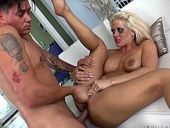Holly's makeup has been ruined, but it doesn't matter as long, as the blonde-haired milf gets what she wants! Without doubt she desires a hard dick, which she happily begins to suck, when all the clothes fall down. The slutty milf with nice tits and big ass wants to bang. And the anal way is the best way! See.