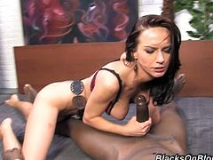 Emotionless slim brunette cowgirl Carina Roman is analfucked by black dude