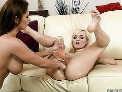Blonde Bianca Golden is in heaven doing it with horny lesbian Alison Star