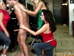 Femdom cfnm babes punish dude in salon