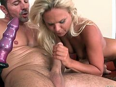 Stacked blond MILF gets her asshole pounded in cowgirl and sideways poses tough