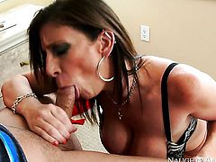 Mr. Pete makes his hard snake disappear in perfect bodied Sara Jays love tunnel