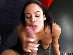 Slutty Cuban girl gives a blow job