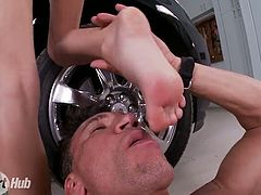 Horn-mad private driver greedily sucks feet of gorgeous blonde Erica Fontes