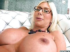Puma Swede strokes cock harder and faster until man explodes