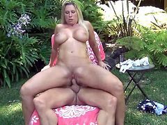 Busty milf Devon Lee moves her as fast sitting on dude outdoor