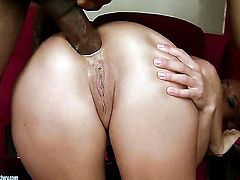 Blonde hussy gets her pussy destroyed by throbbing ram rod of hot man in interracial action