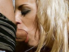 Blonde Laraan and hot guy are so fucking horny in this cock sucking action