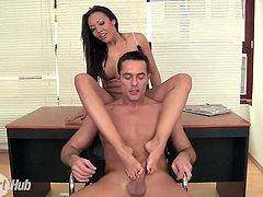 Amazing long legged office slut Rio Lee rides cock and gives footjob
