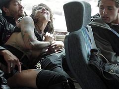 Bonnie Rotten and Brad Armstrong a nice time fucking on a bus. Busty tattooed bitch dressed in black sucks horny dudes hard dick and then gets her dripping wet vagina stuffed.