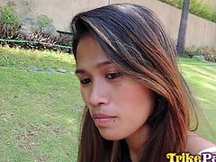 This hot brunette Filipina likes to take long walks in the park. In fact, there's where she was picked up. She soon cheered up and became interested in the guy's offer to go to his place. Click to see the slutty babe, showing her small lovely tits and fingering pussy. A hard cock is what she'll get.