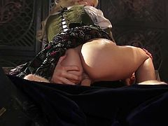 Pretty blonde Anikka Albright with her tight pink pussy fucked with no mercy in hardcore scene from outstanding Sleeping Beauty porn parody This hot chick is dangerously horny!