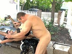 Sexy maid Nikki getting fucked outdoor by sex-hungry master