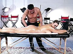 Toni Ribas touches the hottest parts of seductive Abbey Brookss body before he drills her mouth